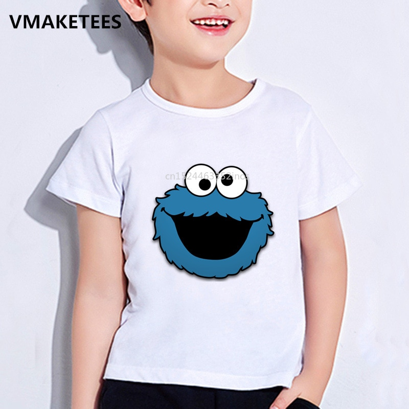 Camiseta de verano para niños y niñas, Camiseta con estampado de dibujos animados de monstruo y Galleta de Barrio Sésamo, ropa divertida para bebés, HKP2412