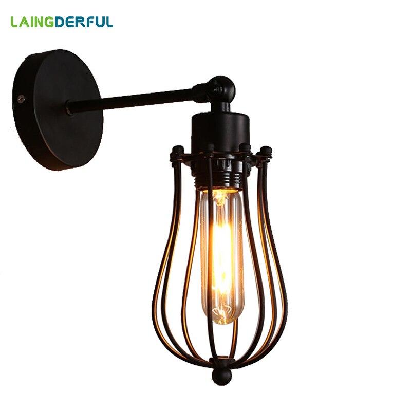 Промышленный Декор Ретро Металлические светодиодные Настенные светильники американский стиль винтажные лестницы Wandlamp клетка из железной ...