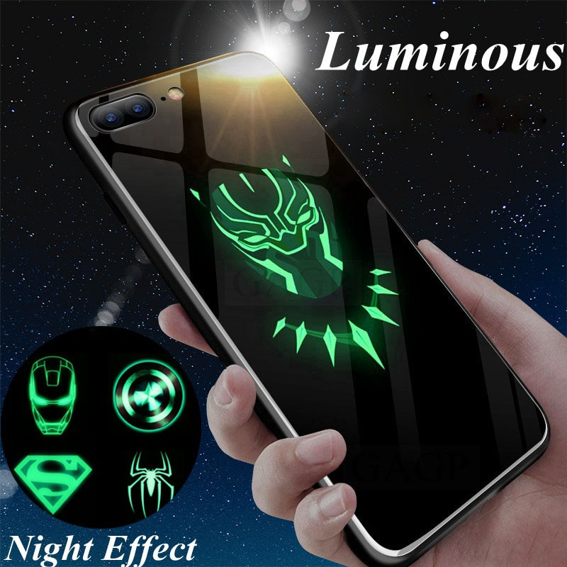 Batman popular Superman Spiderman vitrina luminosa para iphone 7 8 6 6s Plus X Xs X XMax XR Pantera Negra los Vengadores de hierro hombre cubierta