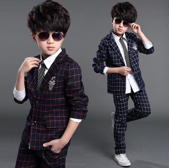 2018 New Fashion Hot Sale Toddler Kids Boys Plaid Formal Party Weddings Tuxedos Kids Boys Suits Blazers Boys Blazer Set