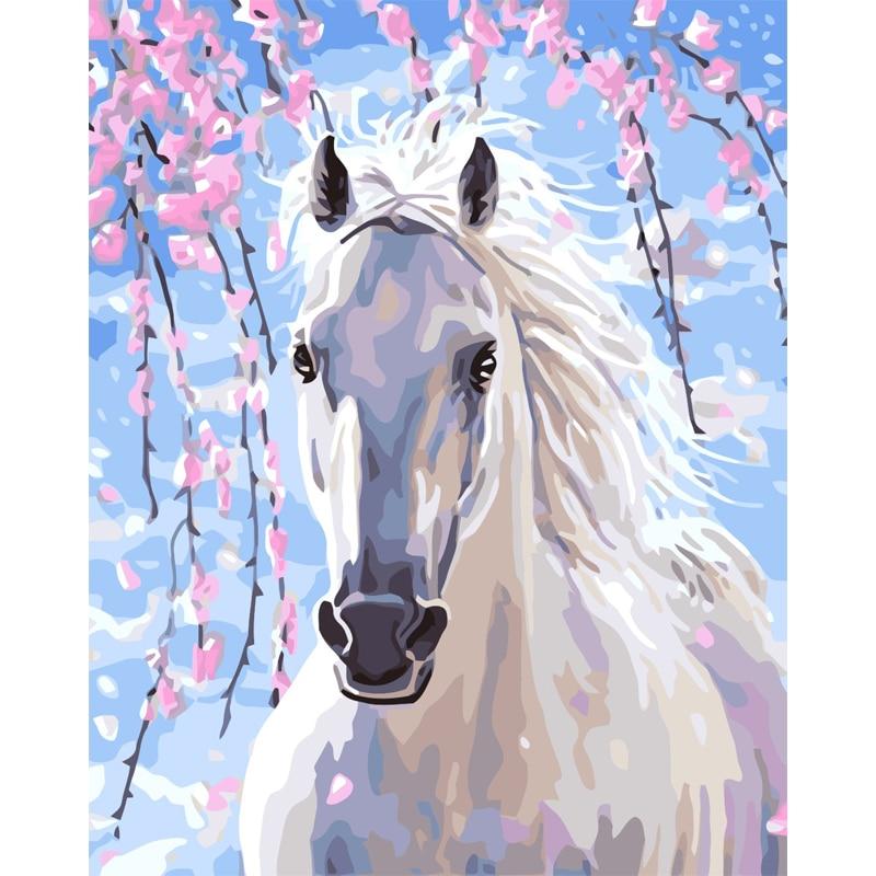 Pintura hecha a mano de caballo blanco lienzo de alta calidad pintura hermosa por números regalo sorpresa gran logro