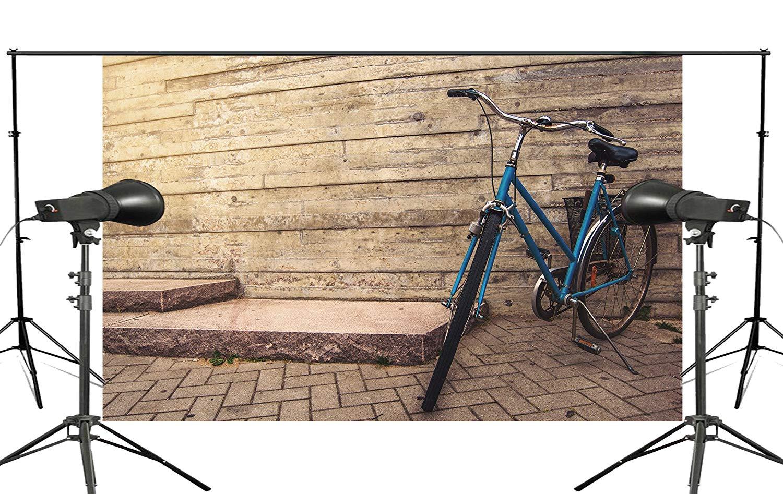 Fondo de pared de madera exquisita, bicicleta azul acoplado en el suelo, estudio de fotografía para niños, Fondo de fotografía 150x220cm
