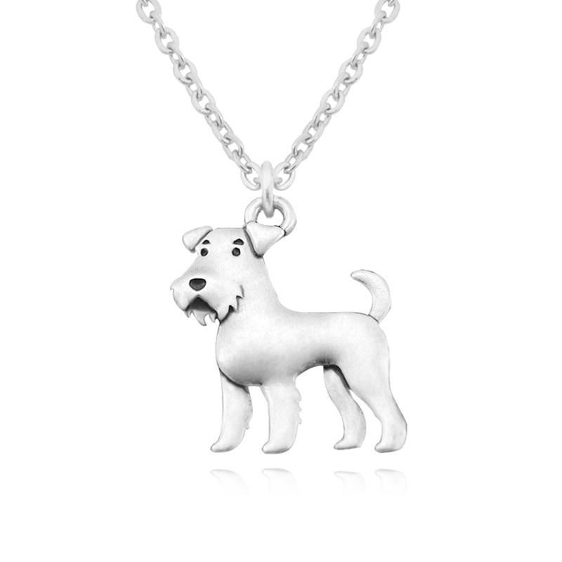 Vintage argent couleur acier inoxydable longues chaînes Airedale Terrier pendentif collier Schnauzer Kpop colliers pour femmes bijoux
