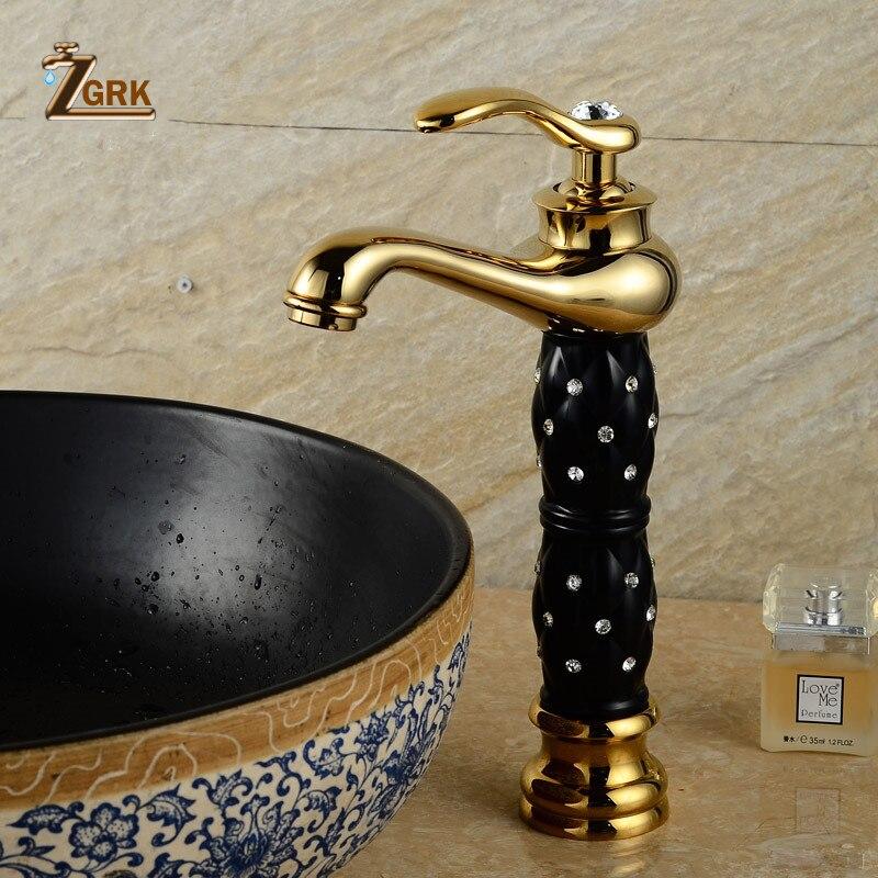 ZGRK-صنابير الحمام ، حوض غسيل ذهبي ، صنبور فاخر ، مقبض واحد ، ثقب واحد