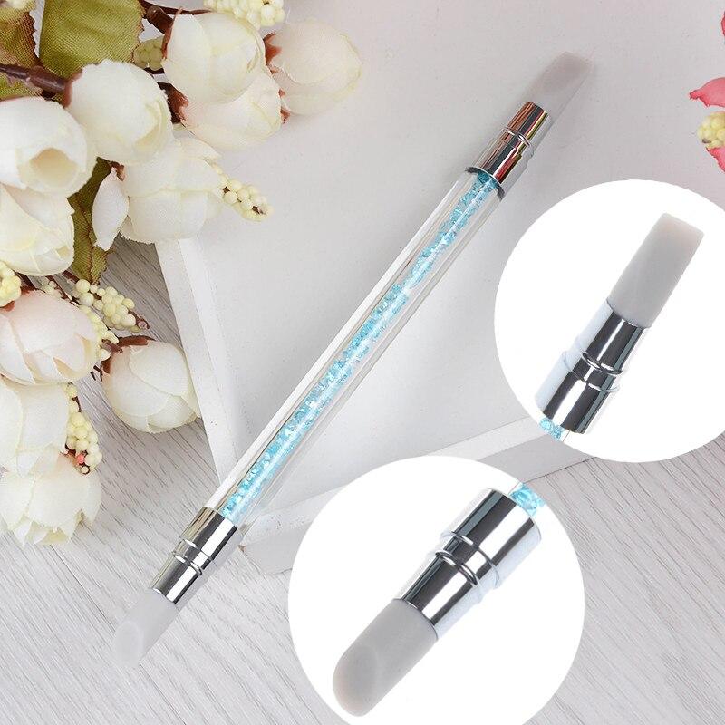 2-formas de Escultura Escultura Pintura Brush Pen Silicone Oco Alça de Cristal Double-ended Nail Art Manicure Ferramenta