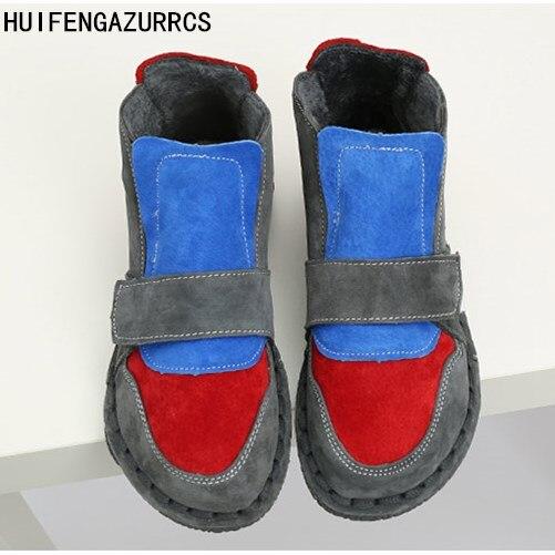 Careaymade-nuevas botas cortas puras hechas a mano, botas cálidas de terciopelo de otoño plus, botas de color de muñeca de cabeza grande del departamento de Japón