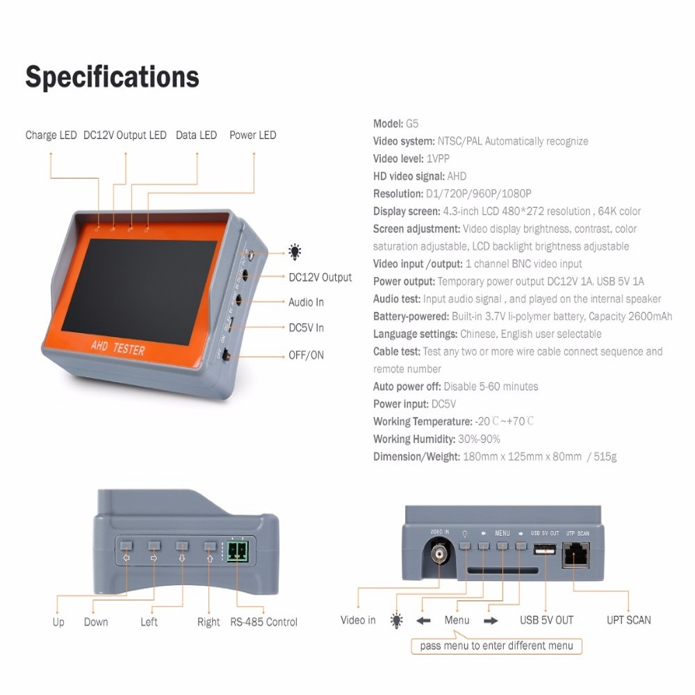 IV7A 4.3 Inch HD AHD CCTV Tester Monitor AHD 1080P Analog Camera PTZ UTP Cable Tester 12V1A Output enlarge