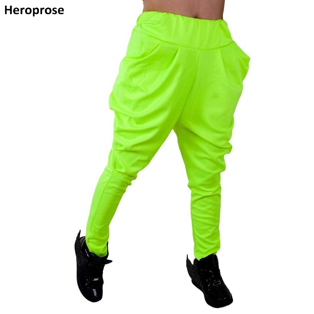 Heroprose nueva marca de moda Jazz harem hip hop verde fluorescente pantalones de chándal Casual primavera otoño pantalones de baile sueltos
