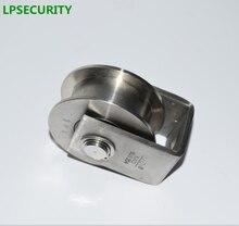 LPSECURITY-rouleau de porte en acier inoxydable   304 glissière de porte, roue de porte/poulie de porte avec rainure en forme de H, modèle 2 pouces, hauteur totale 54mm