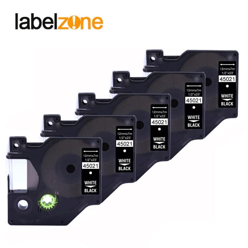 5 pçs 12mm 45021 branco em preto compatível dymo d1 12mm impressora de etiquetas 45021 fitas de etiquetas laminadas para impressora labelmanager 160