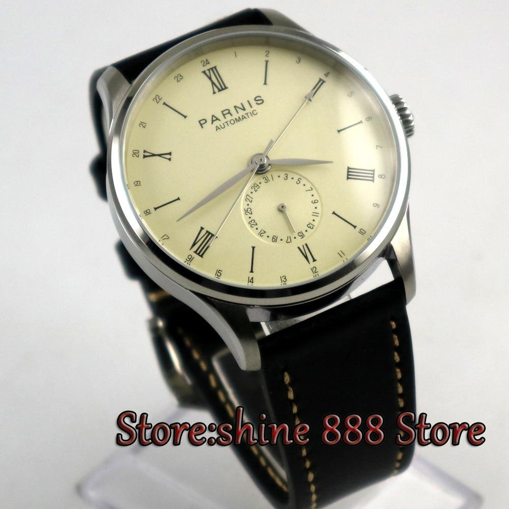 بارنيس-ساعة يد رجالية ، مينا أصفر فاتح ، أبيض ، 24 ساعة ، أرقام رومانية ، نورس بحر ، حركة أوتوماتيكية ، P9 ، 42 مللي متر