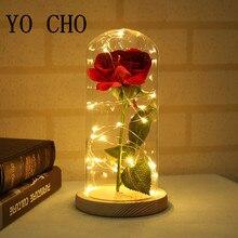 YO CHO-roses rouges artificielles en soie   Dans un dôme de verre sur une Base en bois, lampes de roses, fausses fleurs cadeaux de noël pour la saint-valentin,