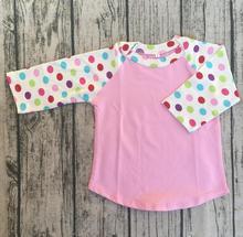 T-shirt manches longues fille   Gros, en vrac, haut à la mode, pas de volants, blanc imprimé petit pot, bébés filles, mignon glace raglan