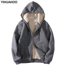 YIHUAHOO veste dhiver à capuche épaisse avec doublure en fourrure, sweat-shirt pour homme grande taille, 6XL, 7XL et 8XL