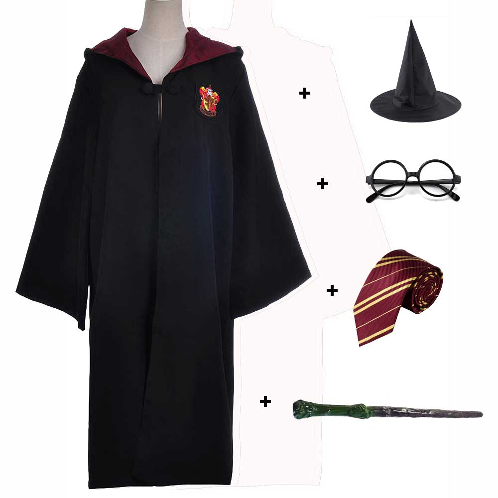 Kids Adult Gryffindor Ravenclaw Hufflepuff Slytherin Robe Halloween Wizard Robe Cape Wand Tie Glasses Set Cloak Costume