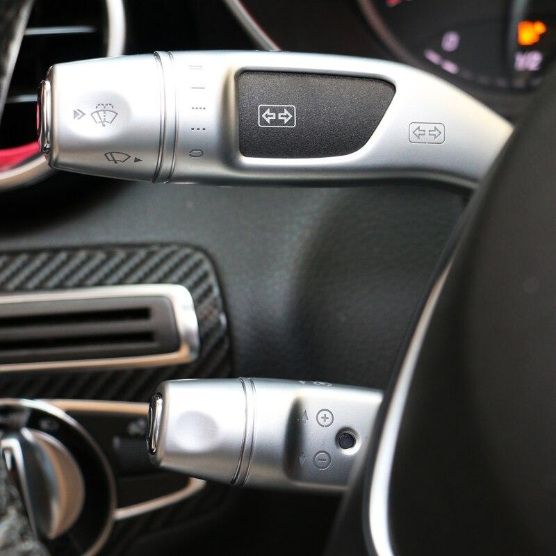 3pcs Car styling Chrome Wiper Shift lever Cruise Covers Frame Stickers kit Trim for Mercedes Benz CLA GLC C E S Class W205 W213
