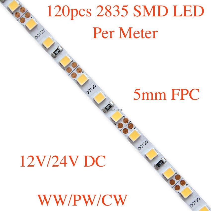 5mm FPC,  Slim flexible SMD LED strip light,  120pcs 3528/ 3014/ 2835 SMD leds per meter, DC 12V/ 24V, 5m a roll/lot