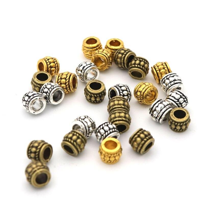 8x6 tibetano prata ouro bronze cor grande buraco redondo roda tubo espaçador contas de metal para fazer jóias needlework fornecimento por atacado