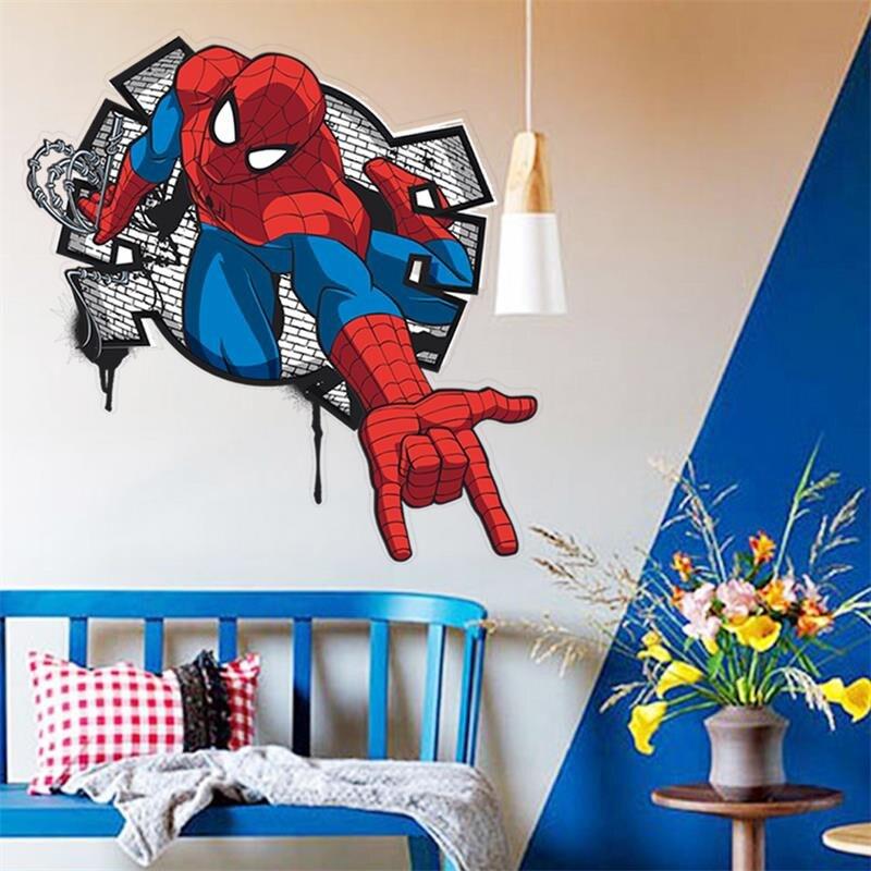 % 3D Spiderman dos desenhos animados Decalques Da Parede Removível PVC adesivos de Parede Mural Para Quarto de crianças quarto Vinil Decoração Da Sua casa Papel De Parede do cartaz da arte