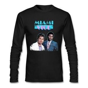 Miami Vice Vintage T Shirt Long Sleeve Custom Men's T-shirt Pop Street Wear O-neck Cotton Men Shirts
