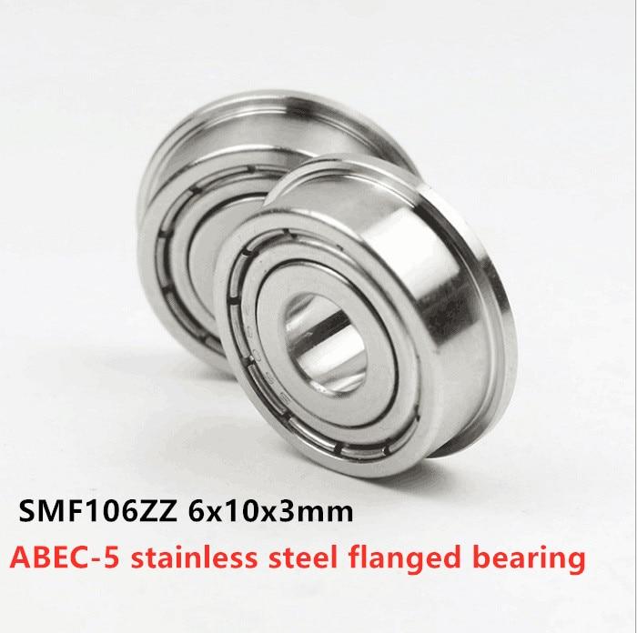 50 pcs ABEC-5 SMF106ZZ 6x10x3 flangeadas de rolamentos de aço inoxidável flange miniatura rolamentos rígidos de esferas SMF106 -2Z 6*10*3mm