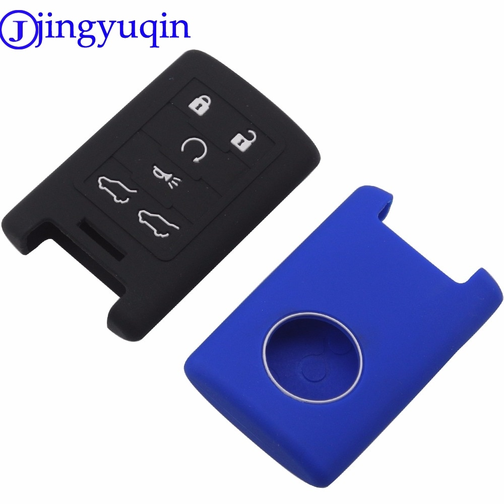 Jingyuqin 10ps reemplazo 6 botones carcasa de silicona cubierta para 2007-2014 Cadillac Escalade ESV EXT mando a distancia Fob
