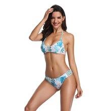 ZHUOHE مجموعة البكيني 2020 منتصف الخصر متعة الاستوائية طباعة ملابس السباحة لباس سباحة قطعتين ملابس السباحة الشاطئ ارتداء Biquini للنساء سيدة