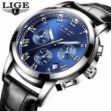 LIGE nouvelle mode hommes montres Top marque de luxe montre à Quartz hommes décontracté en cuir militaire étanche Sport montre Relogio Masculino