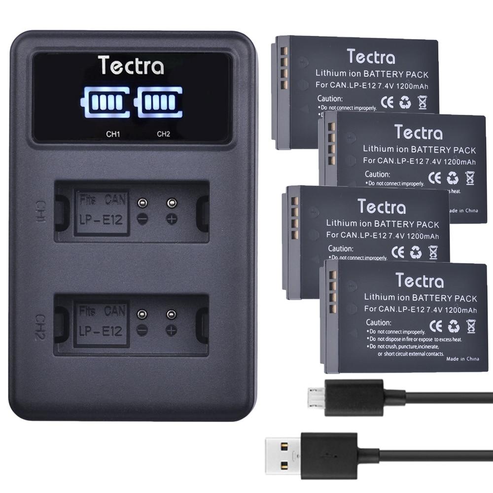 4 paquetes de LP-E12 LP E12 Li-Ion batería + pantalla LED cargador...