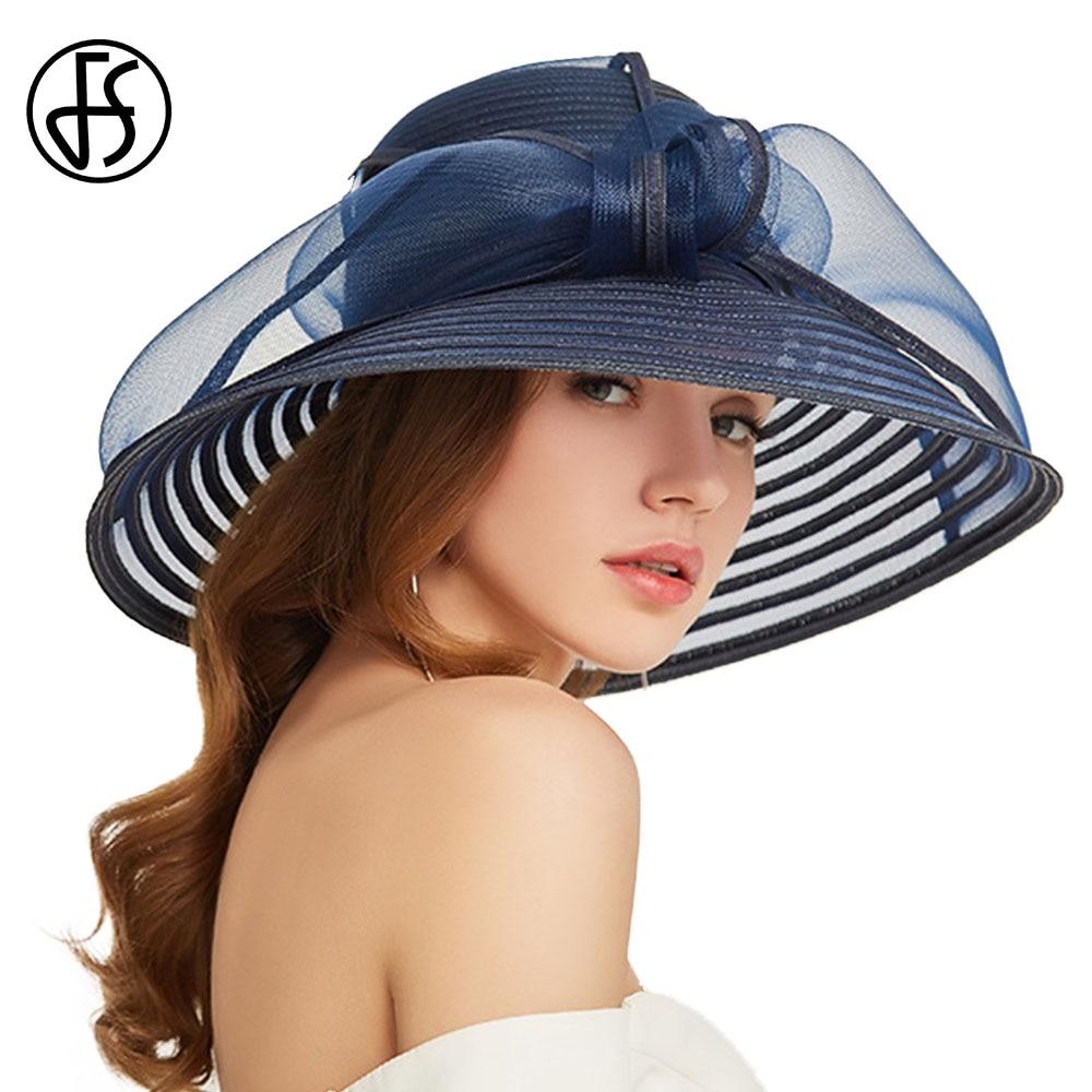 FS 2020 Elegant Floppy Foldable Summer Hat Women Bowknot  Straw Hats Blue White Wide Brim Ladies Round Sun Beach Cap With Visor