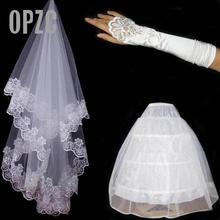 Fil broderie dentelle gants dentelle mariée panier et 3 anneaux jupe blanche haut de gamme trois ensembles de la mariée accessoires de mariage