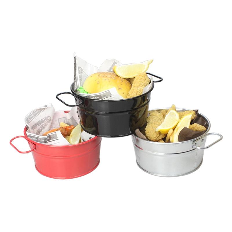 Barril creativo de acero inoxidable para patatas fritas, barril para aperitivos, barril para pollo frito, vajilla de restaurante occidental coreano negro, barril para mariscos