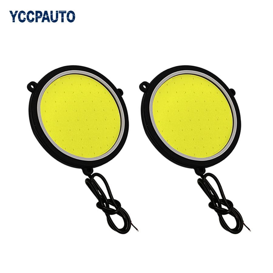 YCCPAUTO 2Pcs High Power COB LED Tagfahrlicht DRL Weiß Runde LED Auto Nebel Lichter Fahren Lampe 12V Auto Lichter