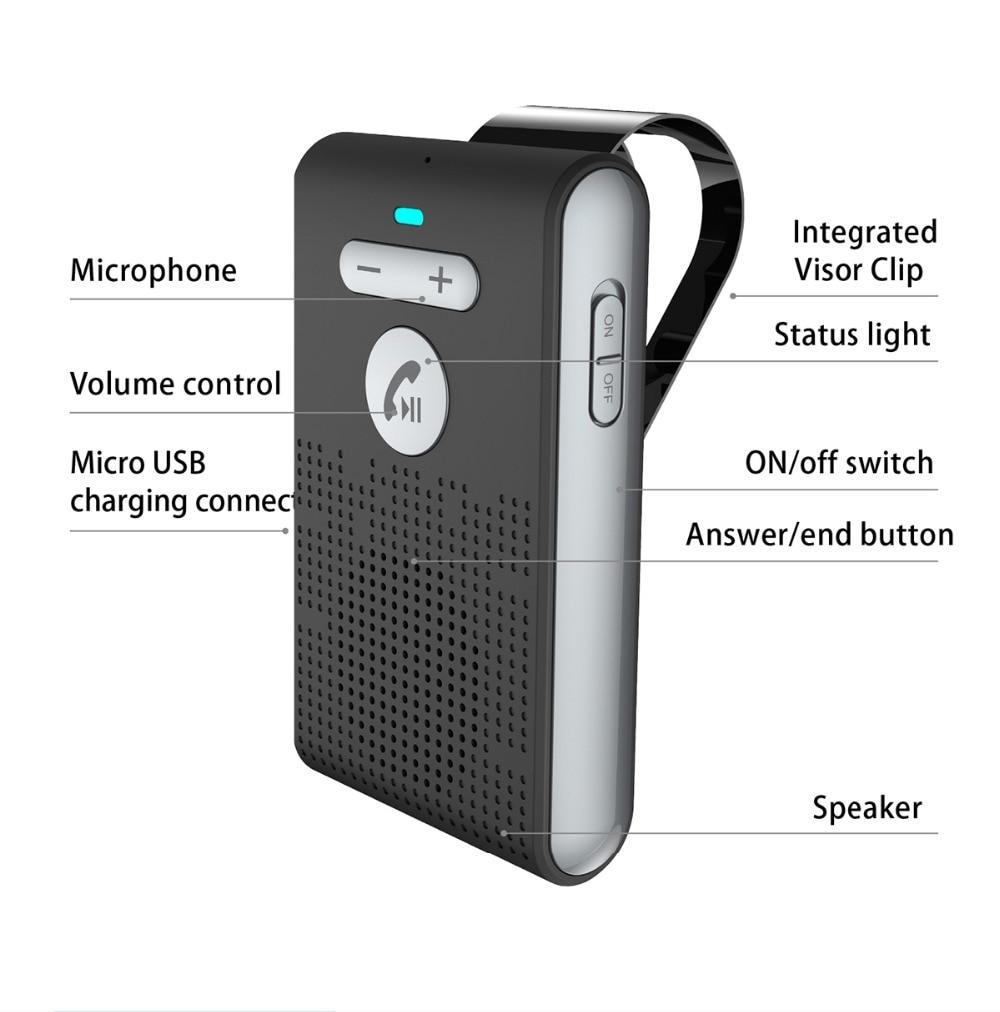 Купить с кэшбэком Siparnuo Car Aux Wireless Handsfree Speakerphone Manos Libres Speaker Bluetooth Hands-free Car Kit
