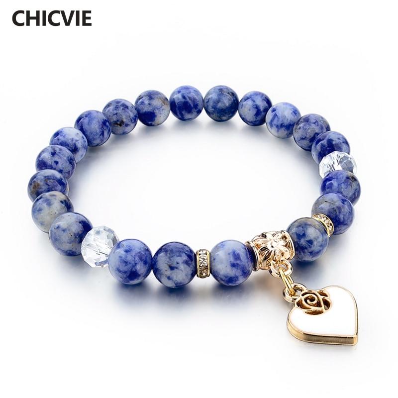 CHICVIE Boho Natural Stone Bracelets For Women Heart Love Gold Bracelets&Bangles With Stones Ethnic Jewelry Bracelet SBR150344