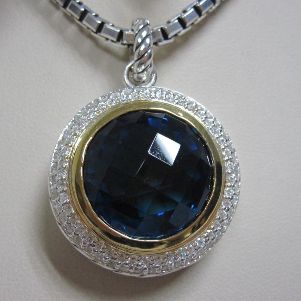 Joyería de plata 925 sólida 18mm Cerise colgante con diseño de Topacio Azul Hampton joyería de marca potenciador de las mujeres sin cadena