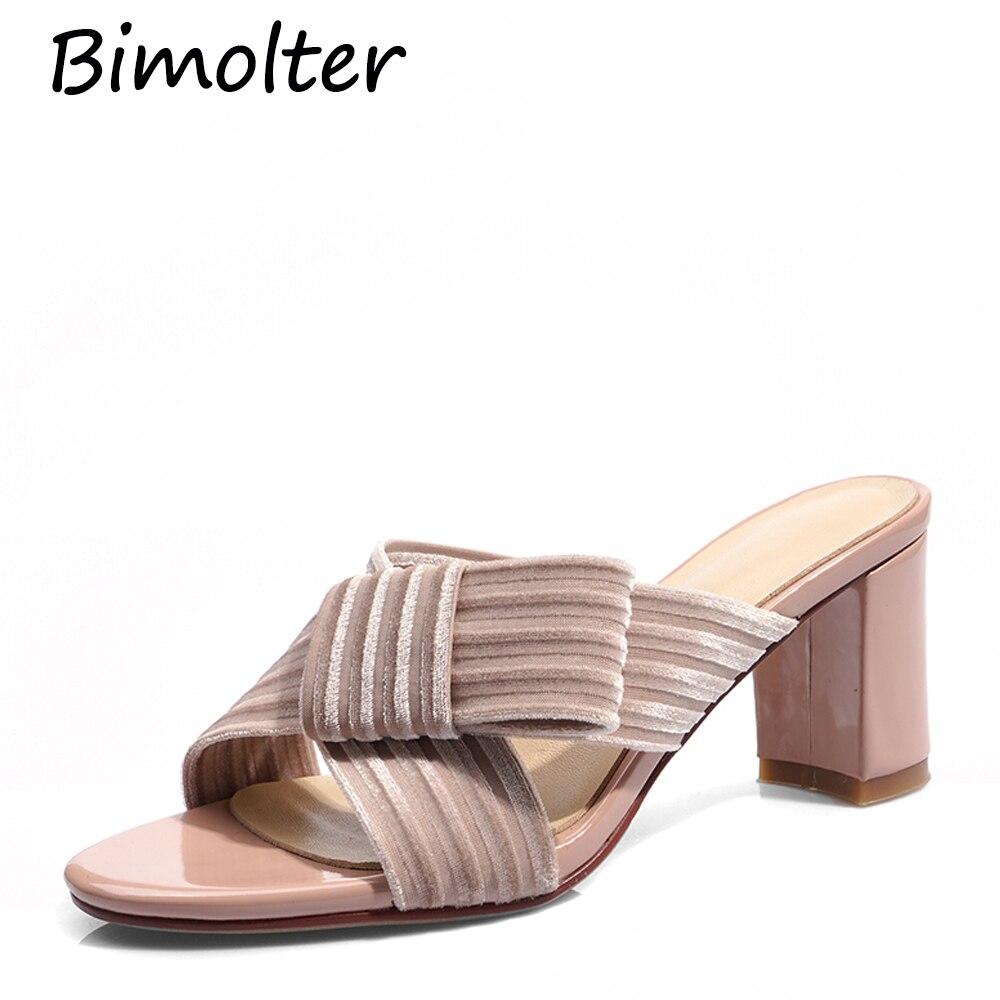 Bimolter Sexy elegante sandalias de verano las mujeres conciso cuadrado tacones de alta calidad rebaño nudo de mariposa gladiador Sandalias Zapatos FC153