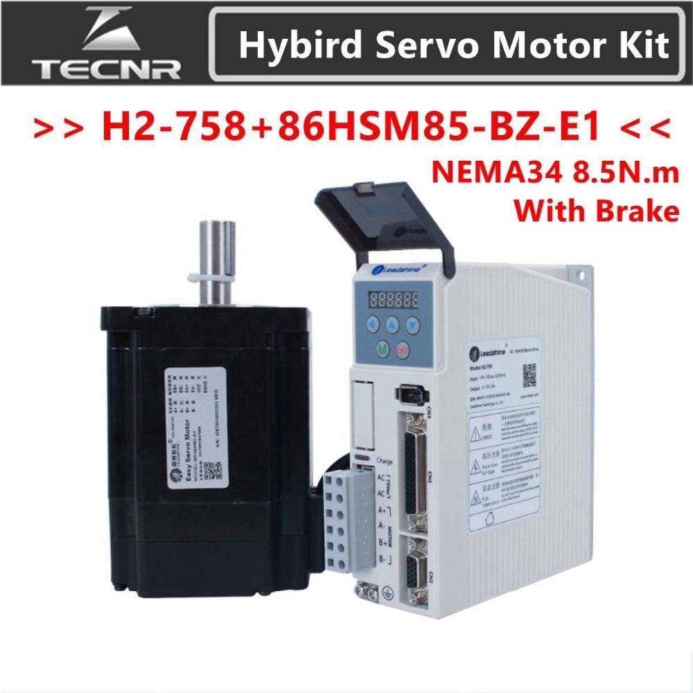 Leadshine H2-758 2 fase híbrida Servo controlador de Motor paso a paso NEMA 34 86HSM85-BZ-E1 8.5NM con freno Cable codificador
