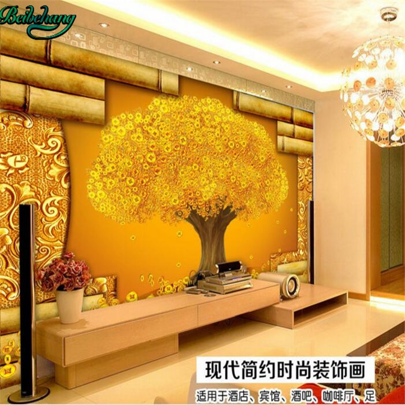 Mural de pared personalizado beibehang, mural estéreo 3D con diseño de árbol, pintura decorativa para pared de TV