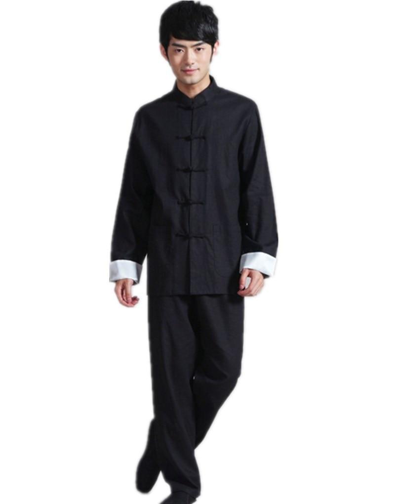 زي تاي تشي الصيني التقليدي من شنغهاي ستوري, طقم ملابس بياقة اليوسفي من الكتان الأسود الكونغ فو + بنطال
