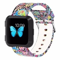 bemorcabo for fitbit versa starpssilicone floral accessories replacement wristband band for fitbit versa smart watch women men