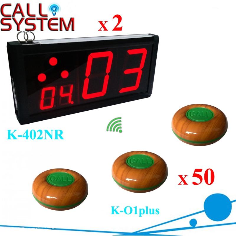 Barra de restaurante Ycall, sistema de llamadas electrónico usado, 2 pantallas de número de contador con 50 zumbadores de mesa 100% a prueba de agua