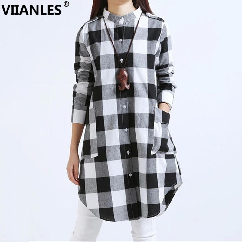 Camisetas a cuadros de VIIANLES para mujer, camisetas casuales, camiseta de franela de manga larga, con bolsillo, blanco y negro, camiseta de rejilla