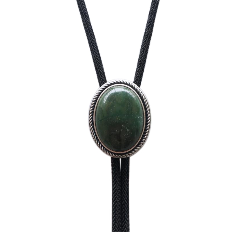 Vintage Silver Plated Handcraft Nature ZA Greenstone Wedding Oval Bolo Tie Factory Direct