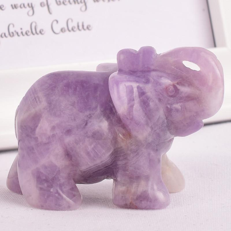 Figuritas de elefante de amatista de piedra Natural, objetos de artesanía tallados, mini estatuas de animales para decoración de habitación de niños, cristales curativos de cuarzo