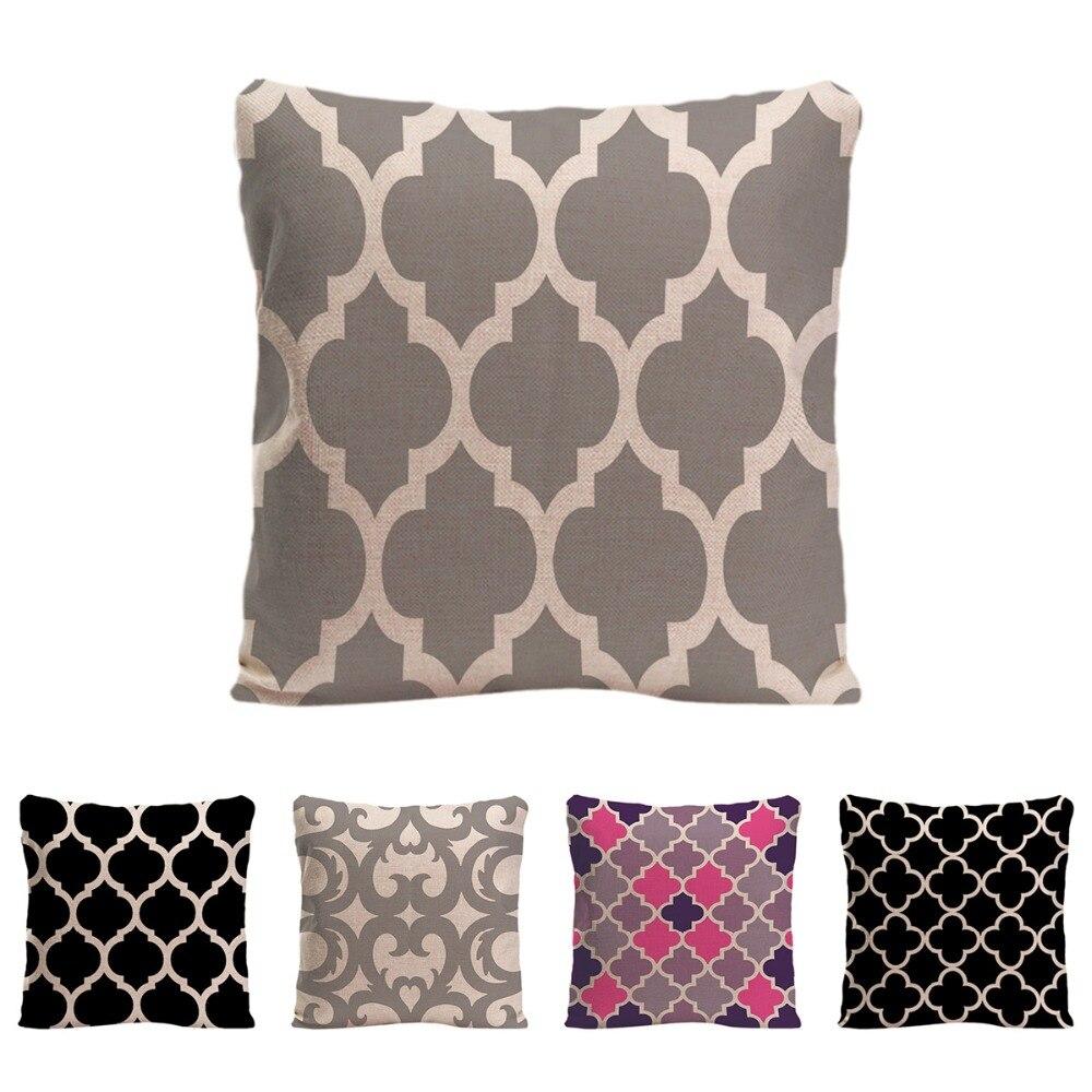Cuatrifolio marroquí funda de cojín con patrón decorativo funda de almohada personalizada de algodón de lino entramado funda de almohada para el sofá de impresión de un lado