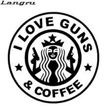Langru-autocollants en vinyle Jdm   Autocollant amusant, I Love pistolet et café, fenêtre pour camion et voiture, autocollants de style
