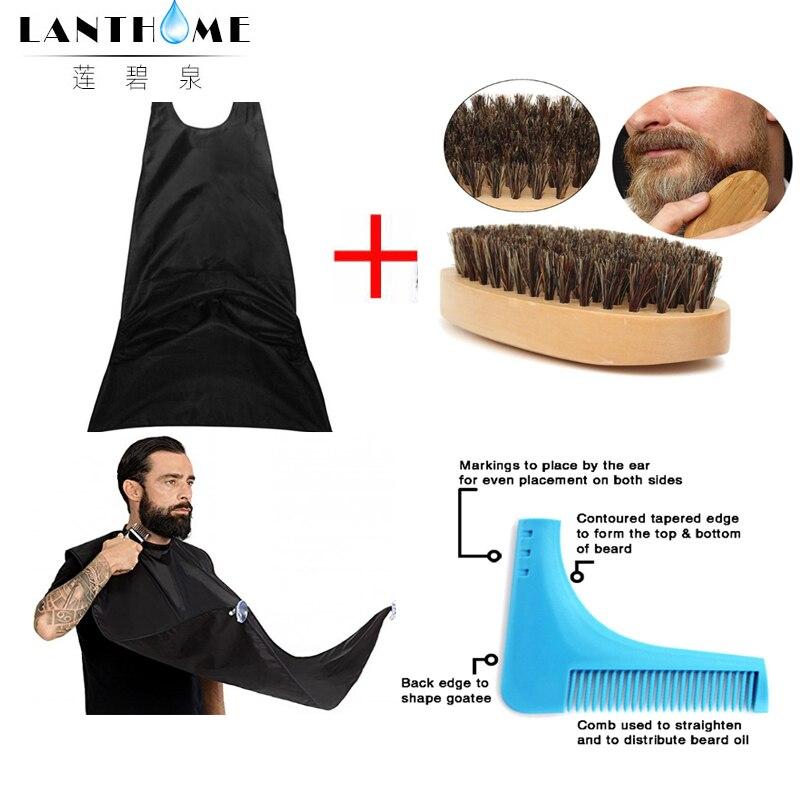 Compacto à Prova Barba de Madeira Pente de Cerdas de Javali Escova de Cabelo Tamanho Dwaterproof Água Barba Aparamento Avental Natural Piolhos Pente 3 Pçs