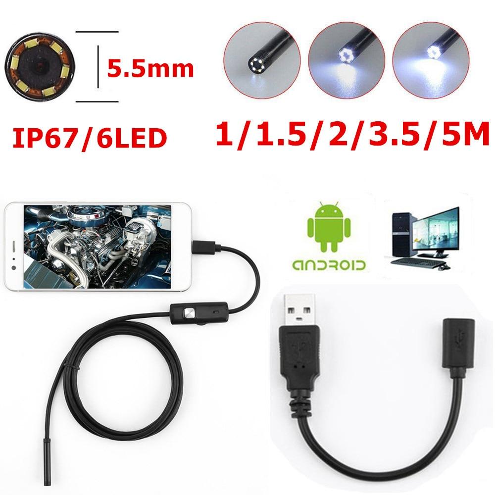 Boroscopio de inspección impermeable 6 LED 5,5mm lente endoscopio para Android lente de la cámara de enfoque USB Cable impermeable endoscopio