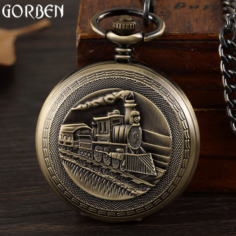 Vintage bronce tren delantero diseño Reloj de bolsillo mecánico tallado retro de bolsillo reloj COLLAR COLGANTE FOB cadena hombres mujeres reloj